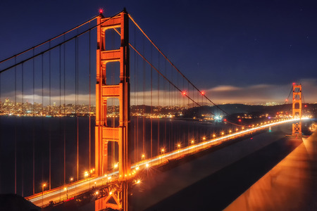 golden: Golden Gate Bridge, night, California, USA