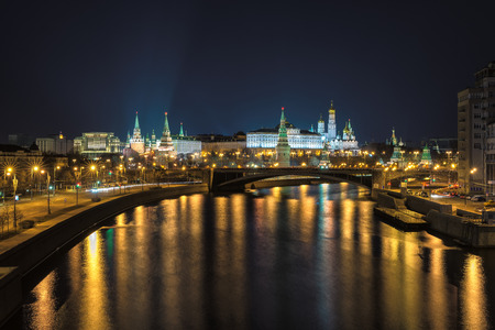 repulse: Moscow, Kremlin, View of the night city, Russia