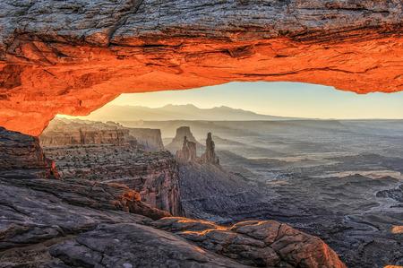 mesa: Mesa Arch at Sunrise. Stock Photo