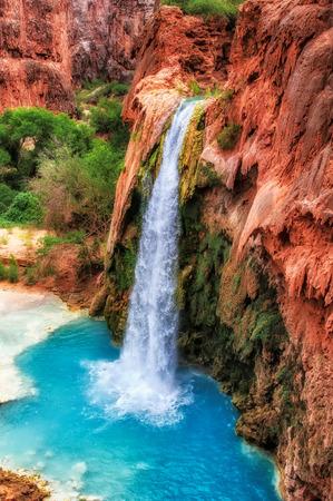 Falls Havasu in rocks , Havasu Falls, Grand Canyon, Arizona, USA 写真素材