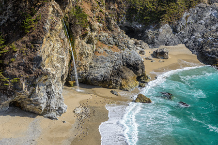 mcway: McWay Falls near Pacific coast, Big Sur, CA. Stock Photo