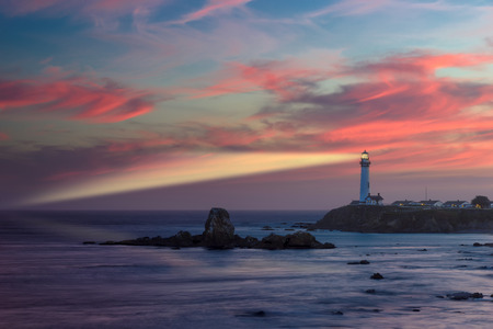 Beam lighthouse at sunset, Pigeon Point Lighthouse, Pacific coast, California