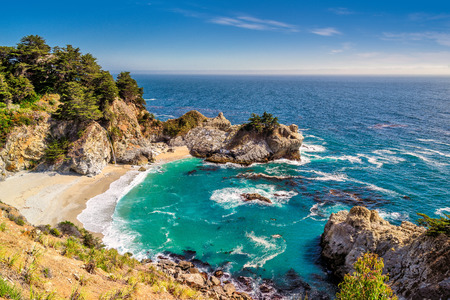 Beach and Falls, Julia Pfeiffer Beach, McWay Falls, California Stock Photo