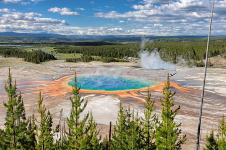 prismatic: Landscape Grand Prismatic Spring in Yellowstone National Park