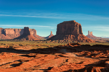 Rocks in Monument Valley. The famous western sandstone formation in Monument Valley during sunrise. photo
