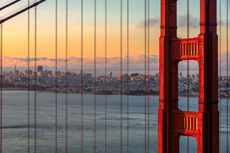 san: Sunrise in San Francisco from Golden Gate Bridge