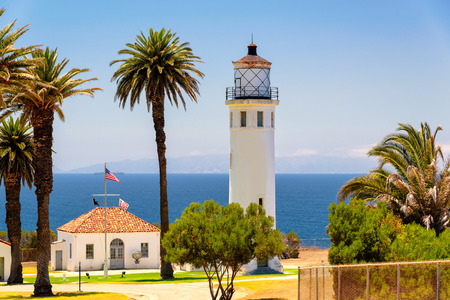 fort: Lighthouse in Los Angeles, Point Vincente, California Stock Photo