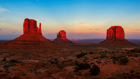 Sunset at Monument Valley in USA 免版税图像