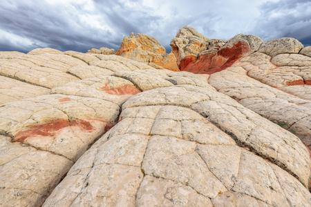 escalante: Plateau from white and red sandstone, White Pocket, Arizona Stock Photo