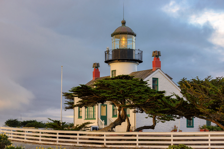 monterey: View of Point Pinos Lighthouse, Monterey, Pacific coast.