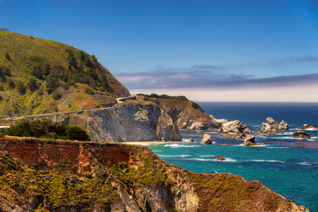 American road, Pacific Coast Highway One in California, Big Sur