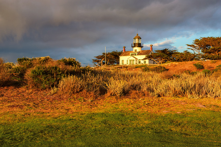 View of Point Pinos lighthouse on the Monterey coast. Stock Photo