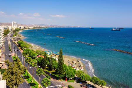 Limassol, Cyprus. Coastline and beach aerial view, and the ships in the sea 스톡 콘텐츠