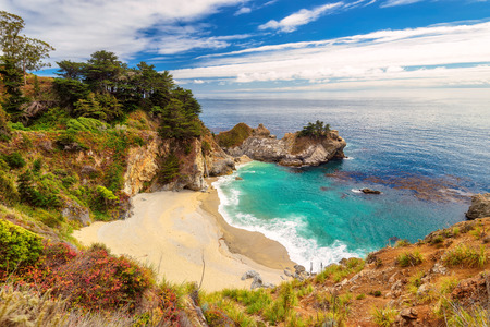california beach: California beach and falls