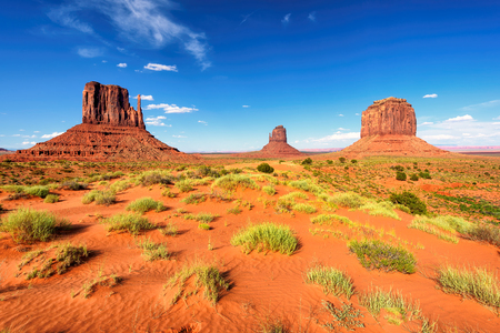 View of the Monument Valley from sand desert