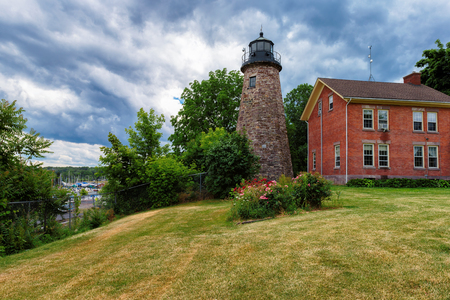 navigation aid: Charlotte Genesee Lighthouse located on Lake Ontario in Rochester