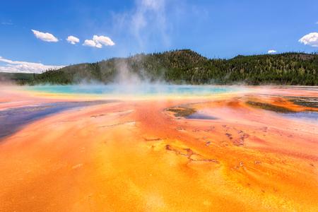 Majestic Grand Prismatic pool steam basis geyser. Yellowstone National Park, Wyoming, USA