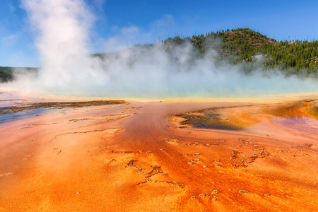 Thermal pool Grand Prismatic Spring in Yellowstone National Park