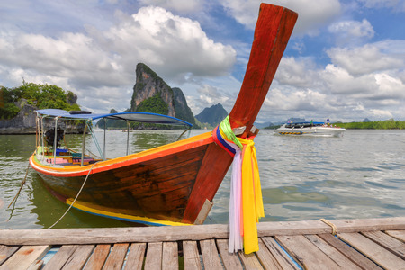 aonang: Traditional thai boat on the beach of Phi Phi island in Thailand