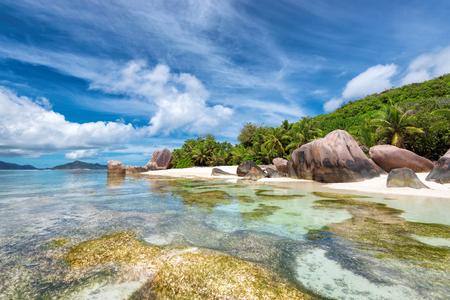 digue: La Digue island, Paradise beach of Seychelles, Anse Source dArgent,