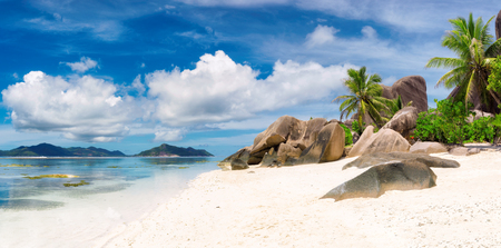 La Digue island, panorama of Paradise beach of Seychelles, Anse Source dArgent