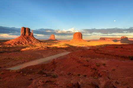 The unique landscape of Monument Valley at sunset, Utah, USA.