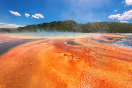 Beautiful Grand Prismatic Spring in Yellowstone National Park, Wyoming, USA Stock Photo