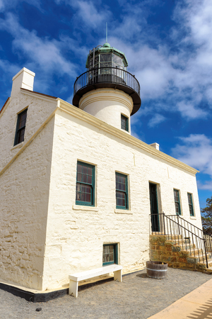 Old Point Loma lighthouse in San Diego Bay, California
