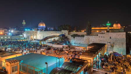 Night view of Temple Mount including the Western Wall, golden Dome of the Rock and Al-Aqsa Mosque, Jerusalem, Israel.