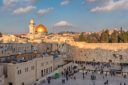 kotel: Western Wall and golden Dome of the Rock, Jerusalem, Israel.