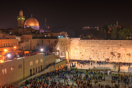 Western Wall at night and Dome of the Rock, Jerusalem, Israel. Editorial