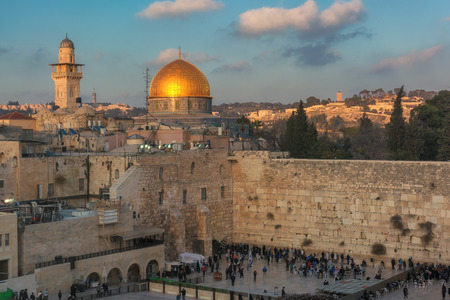 Western Wall and Dome of the Rock at sunset, Jerusalem, Israel.