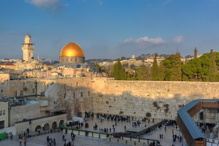 Western Wall and Golden Dome of the Rock at Jerusalem in Old City, Israel.