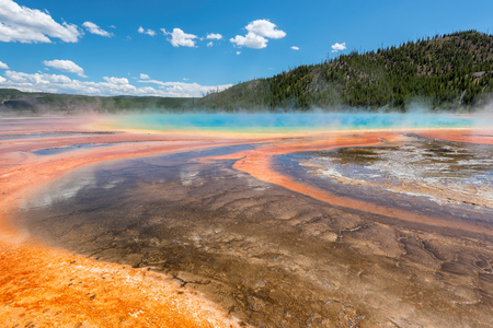 Majestic geyser Grand Prismatic Spring in Yellowstone