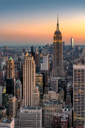 New York city skyline at sunset on July 27, 2017 in NY, USA. 新闻类图片