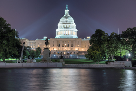 lincoln memorial: The United States Capitol building at night in Washington DC, USA. Stock Photo