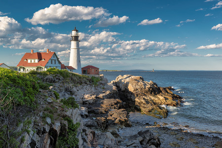 One of the most iconic Lighthouses, The Portland Head Light at Sunset, Portland, Maine, USA. Stock Photo