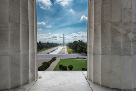 Washington DC city view from Lincoln Memorial to Washington Monument and Capitol building. Stock Photo