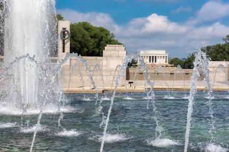 Lincoln Memorial from fountain of National World War II Memorial, Washington DC, USA.