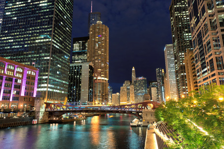 Chicago downtown and Chicago River with bridges at night, Stock Photo