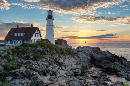 Portland Lighthouse at Sunrise in Cape Elizabeth, Maine, USA.