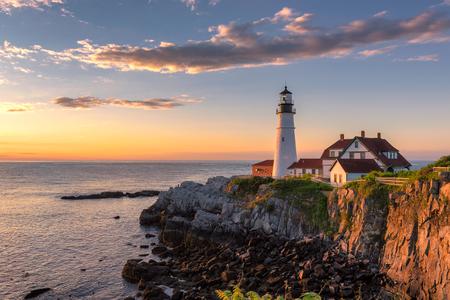 Portland Head Light at sunrise in Maine, New England. Stock Photo
