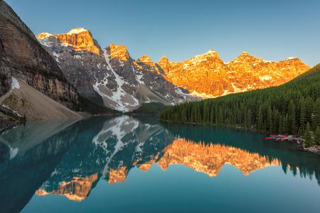 Beautiful sunrise at the Moraine lake in Canadian Rockies.