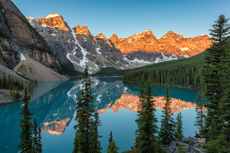 Beautiful sunrise at the Moraine lake in Banff National Park of Canada