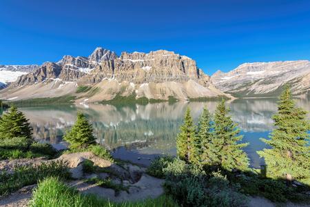 Bow Lake near Icefields Parkway, Banff, Rocky Mountains, Alberta, Canada Stock Photo