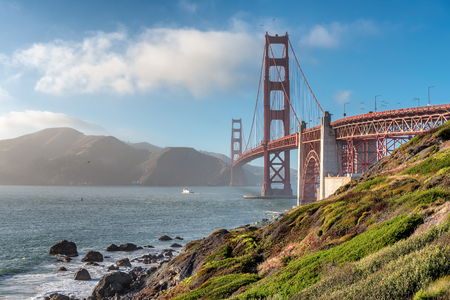 Golden Gate Bridge at sunset in San Francisco, California, USA. Stock Photo