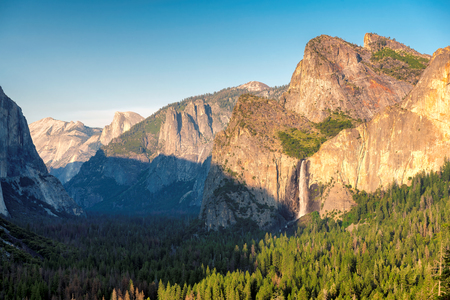 View of Yosemite Valley from Tunnel Viewpoint at sunset, Yosemite National Park in California.