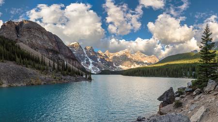 Panoramic view of Moraine Lake in Canadian Rockies