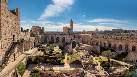 Jerusalem Old City - Panoramic view Tower of David at sunset.
