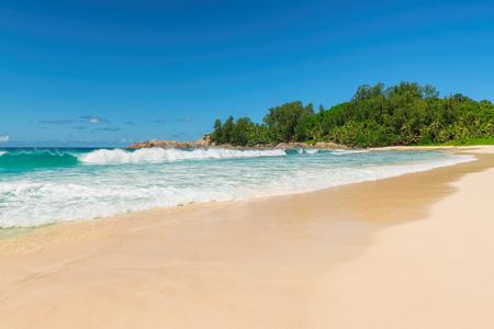 Tropical beach at Paradise island, Jamaica. Fashion travel and tropical beach concept.